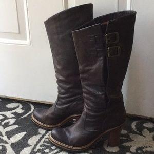 Frye dark navy blue 7 pull on buckle heel boots